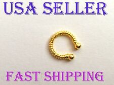 No Piercing 8mm Gold Plated Nose Ring/Cuff Hoop Earring Cartilage/Tragus/Helix