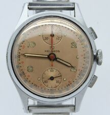 VINTAGE Helbros 35mm Mens Up Down Chronograph Watch Venus 170 MINT Salmon Dial
