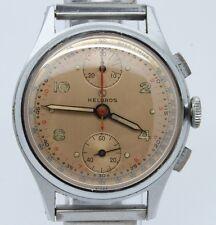 VINTAGE Helbros 35mm Mens Up Down Chronograph Watch Venus 170 MINT Salmon Dial