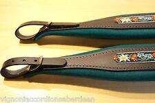 Deluxe Italian accordion strap green & black folk leather 346a 8cm w +Backstrap