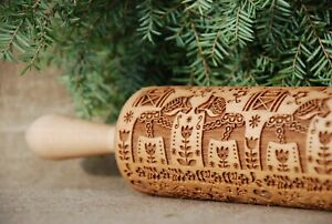 Carved Rolling Pin Dala Horses Embossed Dough Roller Wooden Engraved Rolling