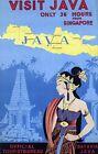 "Vintage Illustrated Travel Poster CANVAS PRINT Visit Java Indonesia 8""X 12"""