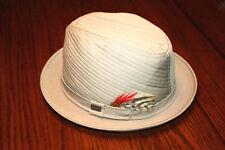 Vintage Adam New York Fifth Ave Designer Fedora Cap Hat w/ Feather - 7 to 7 1/2