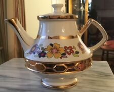 VTG GIBSONS STAFFORDSHIRE ENGLAND PORCELAIN CHINA TEAPOT COPIOUS GOLD TRIM