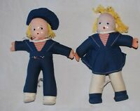 """Vintage Ethnic Hungary Doll Lot 2 Boy Girl Blue Sailor Suit 8"""" Thin Celluloid"""
