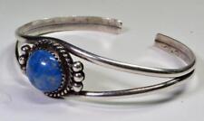 Navajo Designer J Begay Stamped Sterling Silver Lasurite Cuff Bracelet 10.74 g