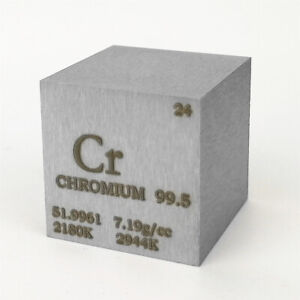 Chromium Metal Density Cube 25.4mm 99.5% 117g for Element Collection