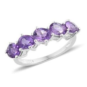 1.50ct Amethyst 5 Stone Ring in 925 Sterling Silver - UK Sizes O & S