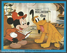 WALT DISNEY PLUTO Maldive MiNr. 972 ** 1982 Plutone 6r + Micky Mouse nel blocco 81