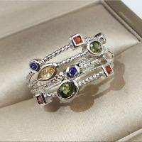 Luxury Sapphire Peridot CZ Wedding Ring 925 Silver Birthstone Engagement Jewelry