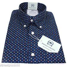 Relco Platinum Collection Satin Cotton Shirt Diamond Navy 60s Mod Skin Dm1 XL