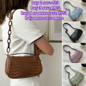 90s Retro Baguette Shoulder Mini Bag Women Faux Leather Crocodile New