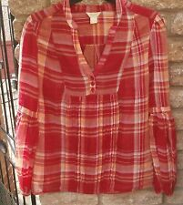 Monsoon -  Red & Orange Long Sleeve Check Blouse Top - Size 8