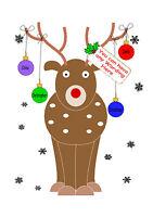 PERSONALISED CHRISTMAS CARD TO GRANDPARENTS XMAS GRANDAD GRAN NAN MULTI RUDOLPH