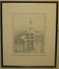 Vintage GRANT SIMON 'Independence Hall 1830' PHILADELPHIA Architect Lithograph