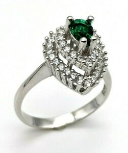 HANDMADE Women's 925 Sterling Silver Emerald Ring 6.25