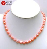 """7-9mm Bright Pink BAROQUE Natural FW Pearl 17"""" Chokers Necklace for Women-5842"""