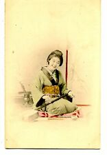 Lovely Smiling Japanese Lady-Plays Instrument-Hand Colored Vintage Postcard