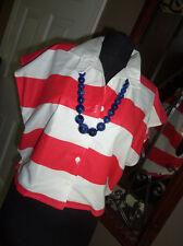 NOS Vtg 80s Byer Awning Stripe NAUTICAL Cap Slv BUTTON CINCH Waist TOP Shirt L