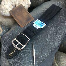 18mm Genuine Perlon Mesh Diver 1960s Black Vintage Watch Band New Old Stock nos