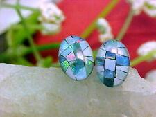 🔥 Genuine Australian Mosaic Opal Triplet Stud Earrings 7x5mm Oval 925 Solid SS