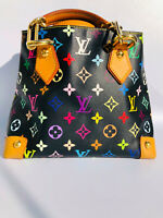 Auth Louis Vuitton limited edtion Audra Noir Black Murakami multicolor tote bag