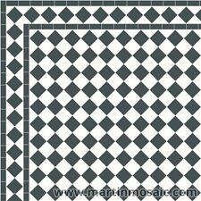 Unglazed  Victorian floor tiles White&Black  exterior-£106.80- sqm²