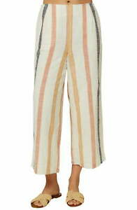O'Neill Womens Pants White Ivory Size 29 Cropped Striped High-Rise $59- 086