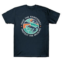 Save The Rainforest Protect The Wildlife Men's Cotton Short Sleeve T-Shirt Tee