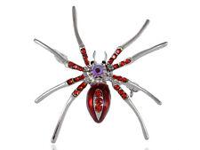 Gothic Spider Fashion Brooch Enamel Crystal Gems Pins Brooches Christmas Gifts