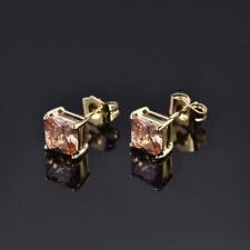 HUCHE Yellow Sapphire Topaz 24K Gold Filled Luxury Lady Women Wedding Earrings