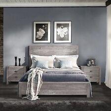 Rustic Grey Grain Wood Furniture Queen Size Solid Wood Panel Bed Headboard Slats