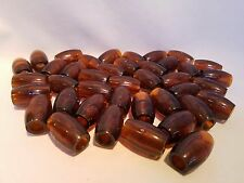 Lot of 40 Clear Brown Plastic Oval Oblong Macrame Plant Hanger Craft Beads 32mm