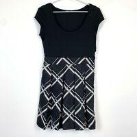 Tokito Womens Black/Pink/Silver Cap Sleeve A-Line Dress Size 8