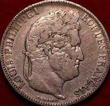 1841 France 5 Francs Silver Foreign Coin