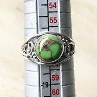 STUNNING GREEN COPPER TURQUOISE & 925 STERLING SILVER RING UK SIZE Q.5 / Q 1/2