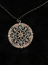 "NEW Pink Silver Crystal Circle Pendant 18"" Necklace Reversible"