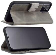 "Exclusive Leder Klapp Tasche in Grau Schutz Cover Bumper iPhone 11 Pro (5.8"")"