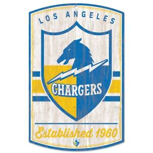 """LOS ANGELES CHARGERS CLASSIC RETRO LOGO EST. 1960 WOOD SIGN 11""""X17'' WINCRAFT"""
