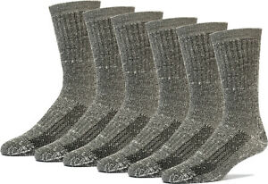 TRAIL PRO Men's Wool Crew Socks 6 Pairs 65% Wool Strong Arch Support HIKING