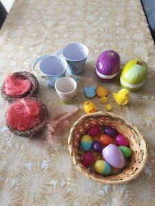 Easter Bundle, Easter Egg Hunt Buckets, Plastic Egg Casings, Mug, Wicker Basket,