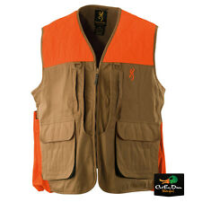 BROWNING UPLAND HUNTING VEST FIELD TAN AND BLAZE TRIM WITH LOGO MEDIUM