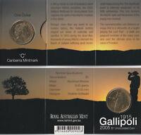 Australia 2005 : 1915-2005 Gallipoli 'C' Mintmark One Collar Coin on Card. Unc.