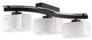MODERN FLUSH 3 LIGHT CEILING FITTING - CHROME WENGE BROWN - GLASS SHADES - REGA