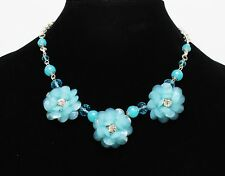 New Blue Flower Statement Necklace with Rhinestones by MIXIT #N2676
