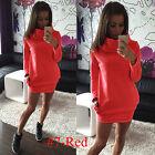 Womens Long Sleeve Hoodies Hoody Mini Dress Pocket Bodycon Jumper Sweatshirt Top