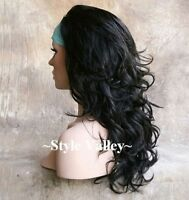 Black 3/4 Fall Hairpiece Half Wig Long Curly/ Wavy Hair Piece Layered #1B