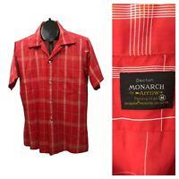 1960s Button Down Collar Shirt / 60s Plaid Checked Loop Collar Shirt / Medium