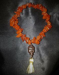Super Charged Red Jasper Crystal Chip Stretchy Bracelet & Copper Buddha, REIKI!