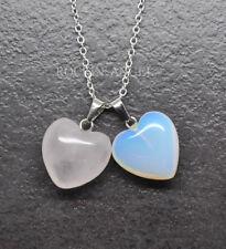 925 Silver Necklace Natural Sea Opal & Rose Quartz Heart Pendant Ladies Gift